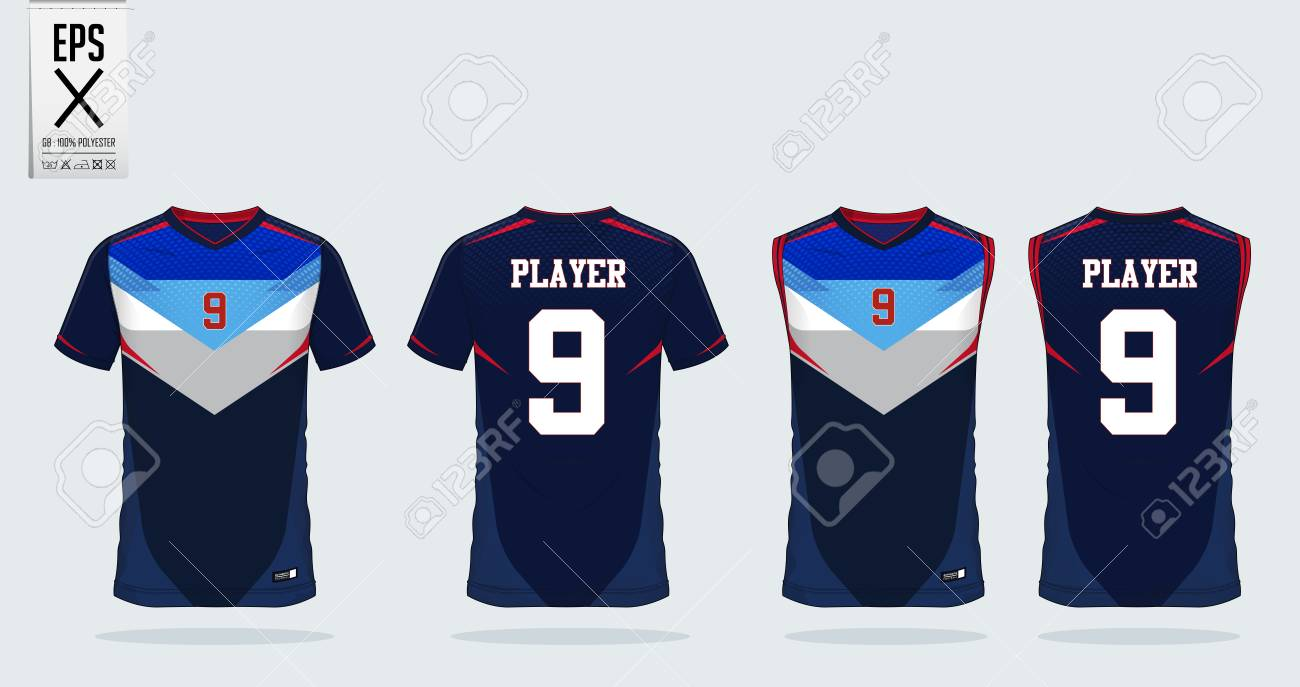 Blue White Red T Shirt Sport Design Template For Soccer Jersey Royalty Free Cliparts Vectors And Stock Illustration Image 111005411